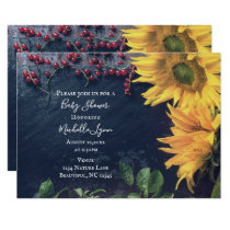 Rustic Sunflower and Slate Country Baby Shower Invitation