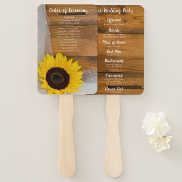Wedding Themed Rustic Sunflower and Veil Country Wedding Hand Fan