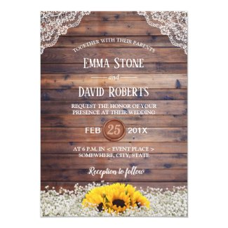 Rustic Sunflower & Baby's Breath Country Wedding Card