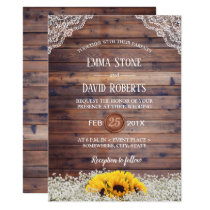 Rustic Sunflower & Baby's Breath Country Wedding Invitation