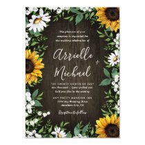 Rustic Sunflower Baby's Breath Wedding Invitations