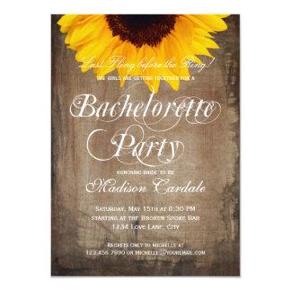 Rustic Sunflower Bachelorette Party Invitations