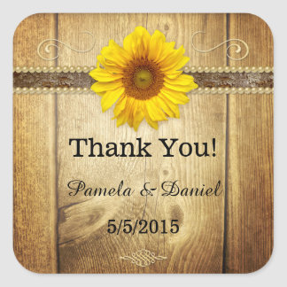 Rustic Sunflower Barn Wedding Thank You Sticker