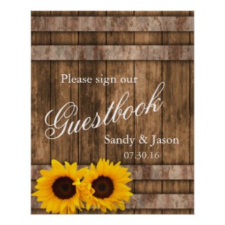 Rustic Sunflower Barn Wood Guestbook Sign | Zazzle