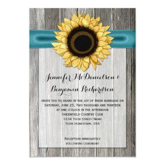 Rustic Sunflower Barn Wood Teal Ribbon 5x7 Paper Invitation Card