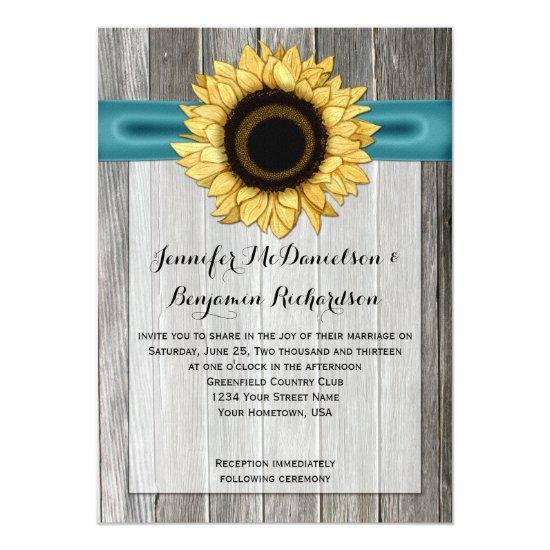 Rustic Sunflower Barn Wood Teal Ribbon Invitation