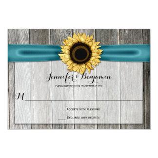 Rustic Sunflower Barn Wood Teal Ribbon RSVP 3.5x5 Paper Invitation Card