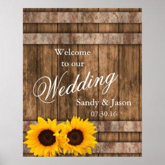 Rustic Sunflower Barn Wood Wedding Welcome Poster