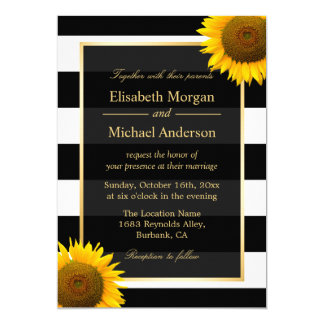 Rustic Sunflower Black and White Striped Wedding Card