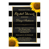Rustic Sunflower Black White Stripes Bridal Shower Card