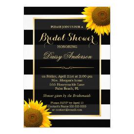 Rustic Sunflower Black White Stripes Bridal Shower Card