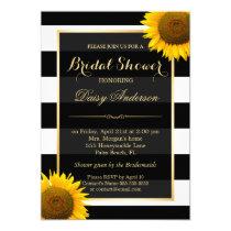 Rustic Sunflower Black White Stripes Bridal Shower Invitation