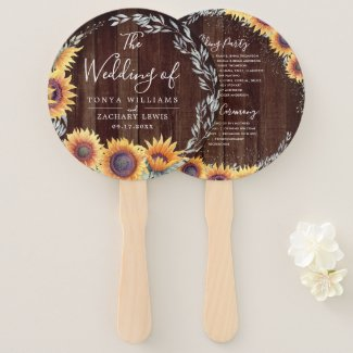 Sunflower Wedding Ceremony Fans, Rustic
