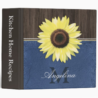 "Rustic Sunflower Blue Country 2"" Recipe Binder"