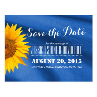 Rustic Sunflower Blue Fabric Save the Date Postcard