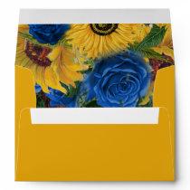 Rustic Sunflower Blue Roses Envelope