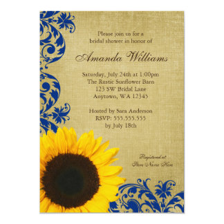 Rustic Sunflower Blue Swirls Bridal Shower 5x7 Paper Invitation Card