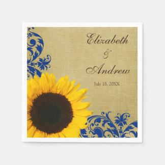 Rustic Sunflower Blue Swirls Personalized Wedding Napkin