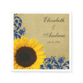 Rustic Sunflower Blue Swirls Personalized Wedding Standard Cocktail Napkin
