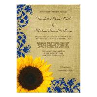 Rustic Sunflower Blue Swirls Wedding Announcements