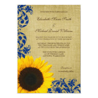 Rustic Sunflower Blue Swirls Wedding Card (<em>$2.01</em>)