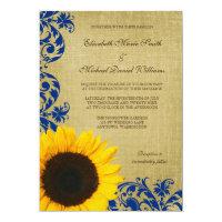 Rustic Sunflower Blue Swirls Wedding 5x7 Paper Invitation Card (<em>$2.16</em>)