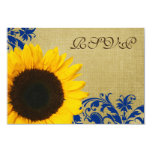 Rustic Sunflower Blue Swirls Wedding RSVP 3.5x5 Paper Invitation Card