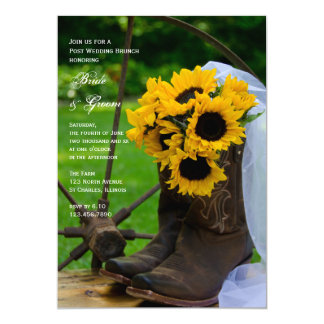 Rustic Sunflower Boots Country Post Wedding Brunch Card