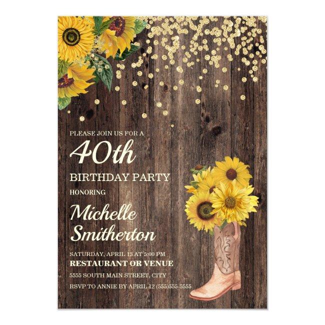 Rustic Sunflower Boots Glitter 40th Birthday Invitation