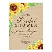 Rustic Sunflower Bridal Shower Invitation