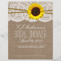 Rustic Sunflower Bridal Shower Recipe Dividers