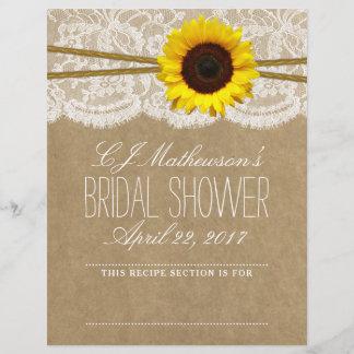 Rustic Sunflower Bridal Shower Recipe Dividers
