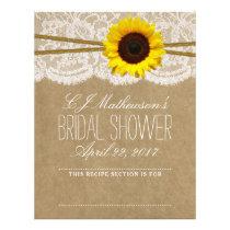 Rustic Sunflower Bridal Shower Recipe Dividers Letterhead