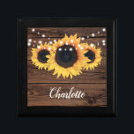 "Rustic Sunflower Bridesmaid Gift Boxes<br><div class=""desc"">Rustic-themed favor box featuring sunflowers on a rustic wood background. Personalize this gift box for any occasion.</div>"