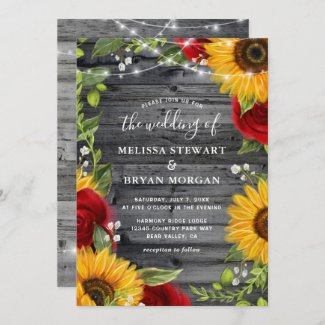 Rustic Sunflower and Red Rose Wedding Invitations