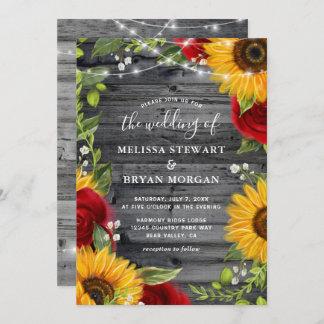 Rustic Sunflower Burgundy Red Rose Wood Wedding Invitation
