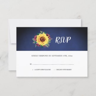 Rustic Sunflower Burgundy Rose Navy Blue Wedding RSVP Card