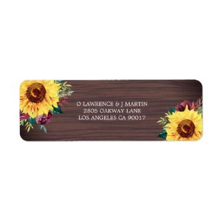 Rustic Sunflower Burgundy Rose Wood Label