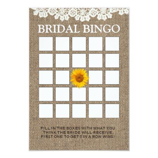 Rustic Sunflower Burlap Bridal Shower Bingo Cards | Zazzle