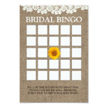 Rustic Sunflower Burlap Bridal Shower Bingo Cards