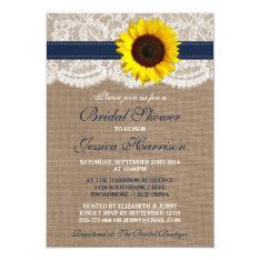 Rustic Sunflower, Burlap & Lace Bridal Shower Card at Zazzle