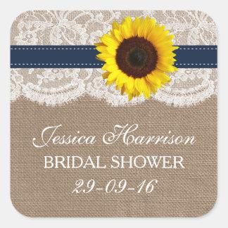 Rustic Sunflower, Burlap & Lace Bridal Shower Square Sticker