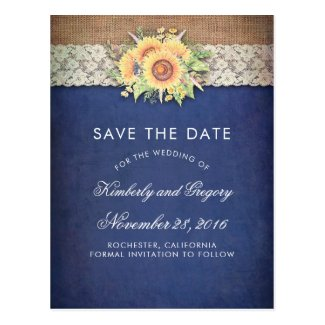 Burlap and Lace Rustic Sunflower Navy Blue Save the Date Cards