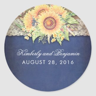 Burlap and Lace Rustic Sunflower Navy Blue Wedding Favor Stickers