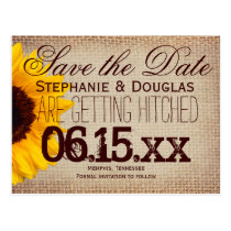 Rustic Sunflower Burlap Save the Date Postcards