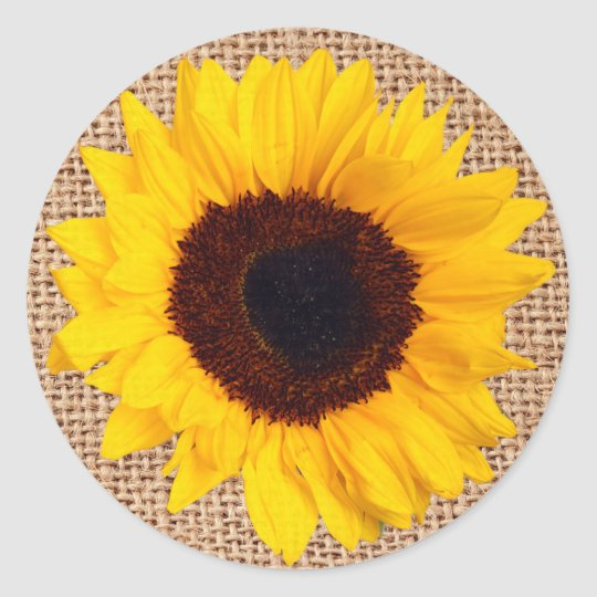 Rustic Sunflower Burlap Sticker Envelope Seal