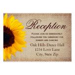 Rustic Sunflower Burlap Wedding Reception Cards