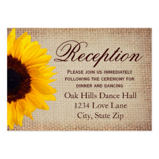 Rustic Sunflower Burlap Wedding Reception Cards Large Business Cards (Pack Of 100)