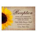 Rustic Sunflower Burlap Wedding Reception Cards Large Business Card
