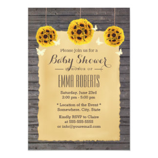 Rustic Sunflower & Butterfly Barn Wood Baby Shower Card